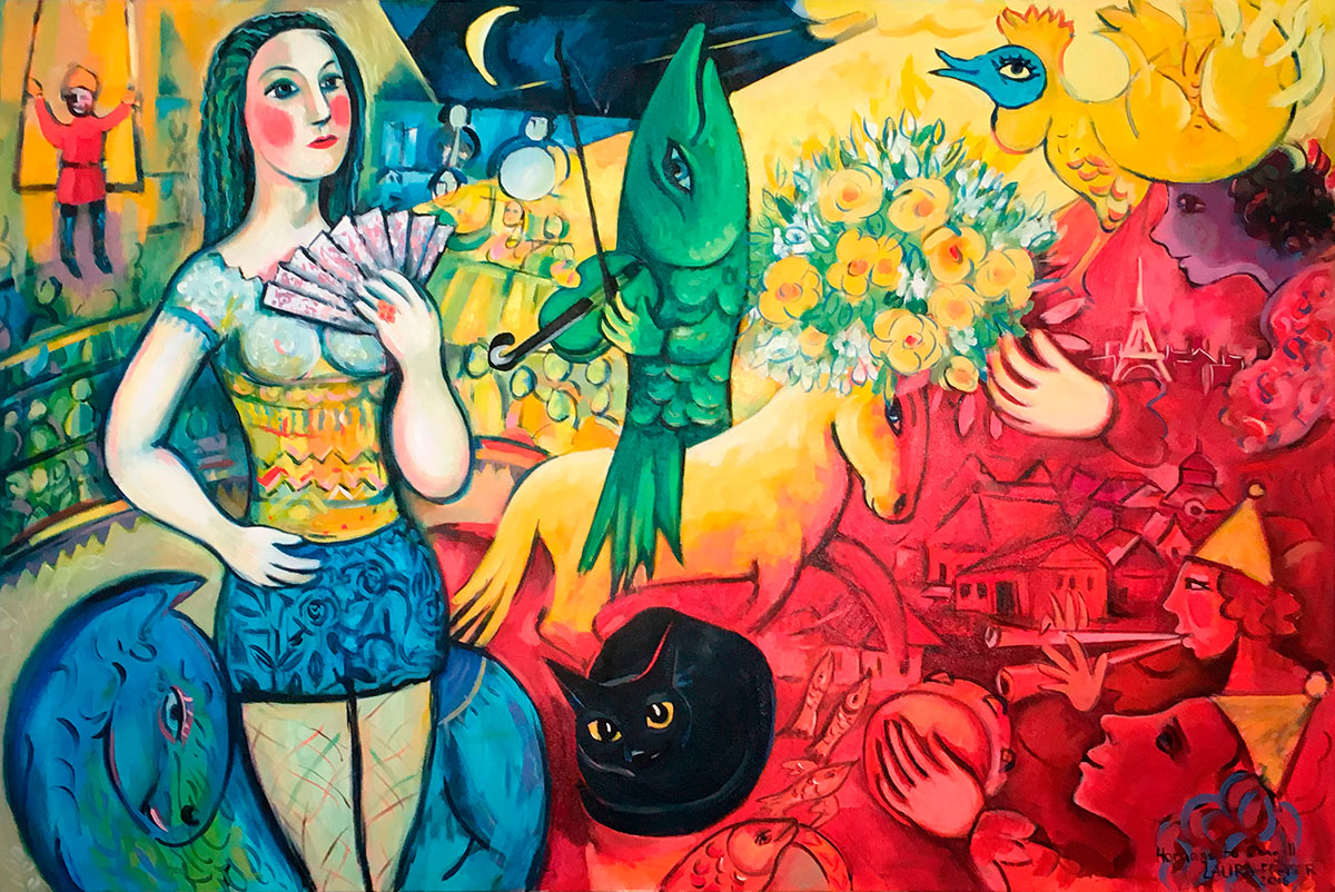 Image of painting by Laura Fraser - Homage to Chagall