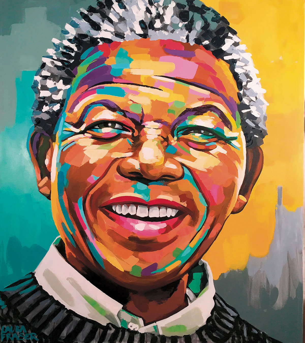 Image of painting of Nelson Mandela by Laura Fraser