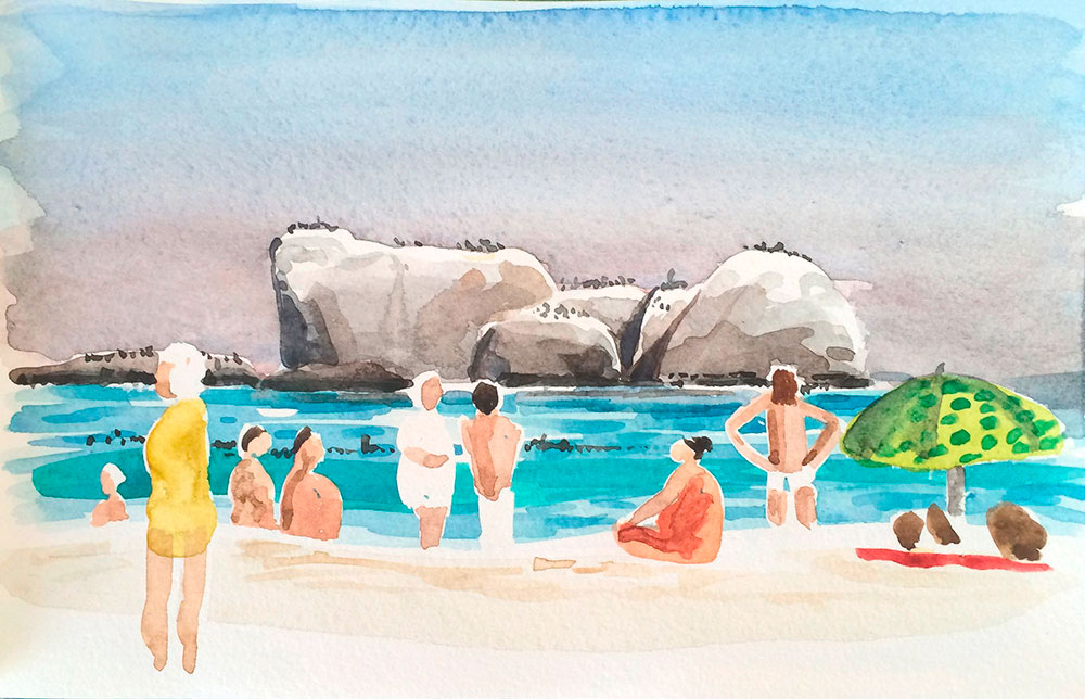 Image of watercolour Clifton Rocks Midday, Cape Town by Laura Fraser