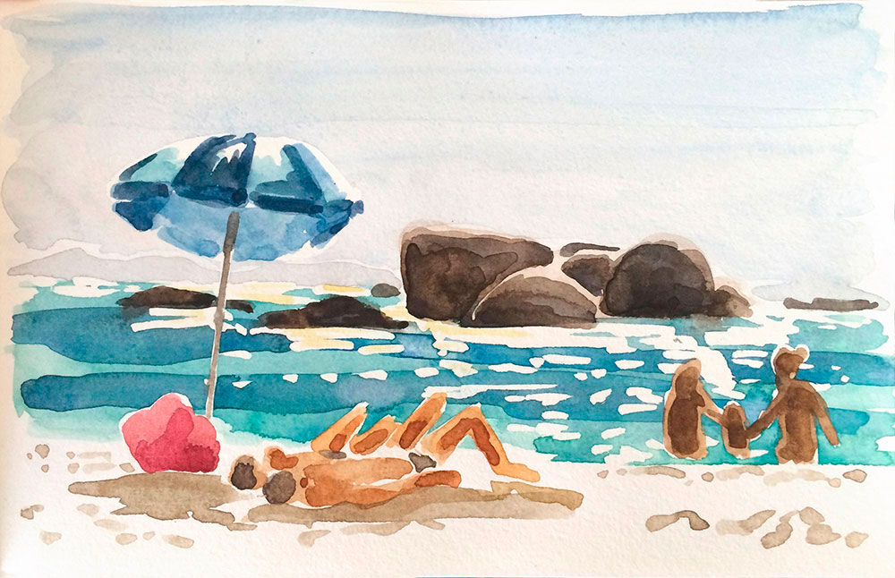 Image of watercolour Clifton Rocks, Cape Town by Laura Fraser